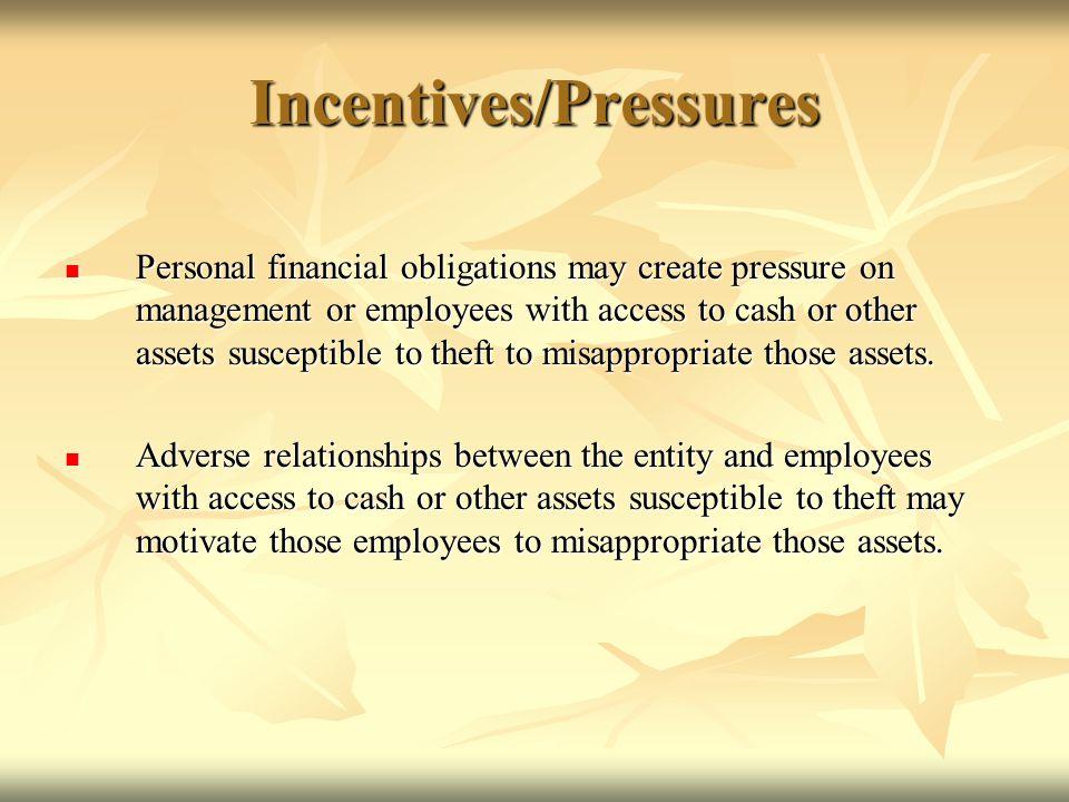 Incentives/Pressures