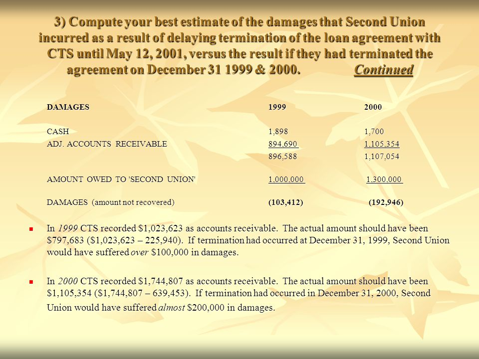 3) Compute your best estimate of the damages that Second Union incurred as a result of delaying termination of the loan agreement with CTS until May 12, 2001, versus the result if they had terminated the agreement on December 31 1999 & 2000. Continued