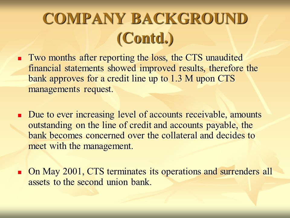 COMPANY BACKGROUND (Contd.)