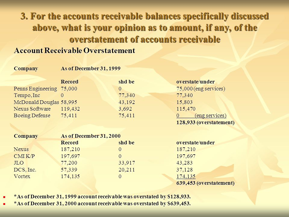 3. For the accounts receivable balances specifically discussed above, what is your opinion as to amount, if any, of the overstatement of accounts receivable