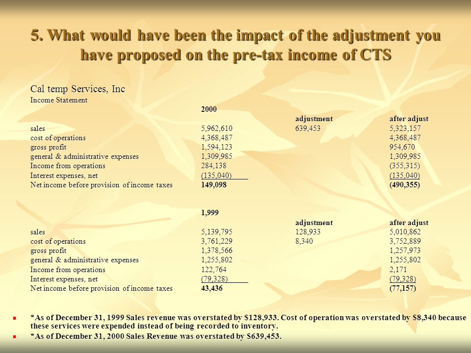5. What would have been the impact of the adjustment you have proposed on the pre-tax income of CTS