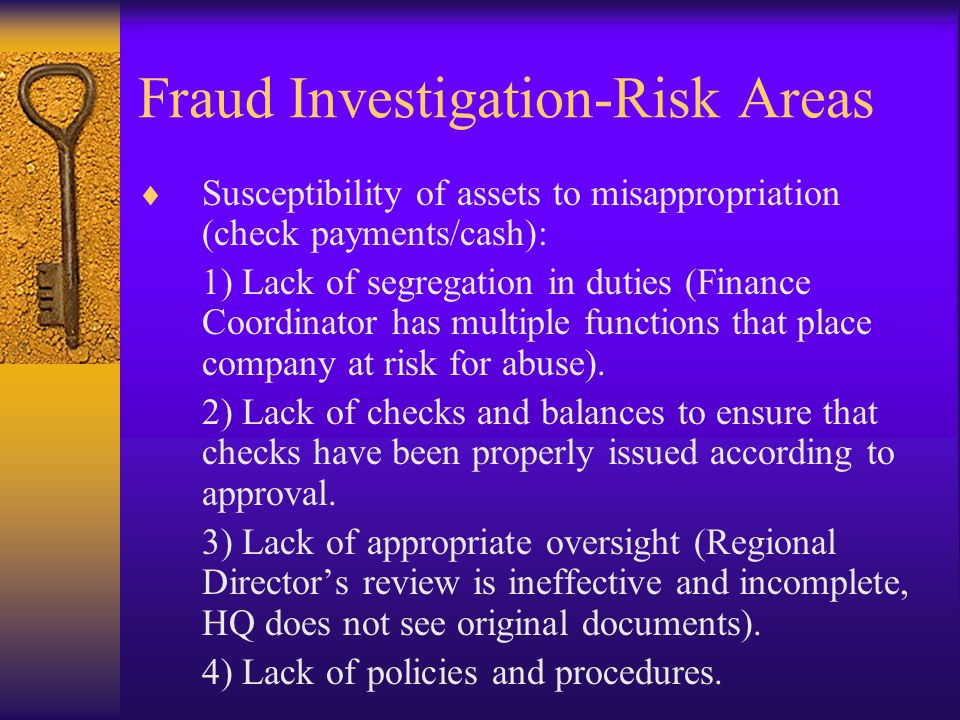 Fraud Investigation-Risk Areas