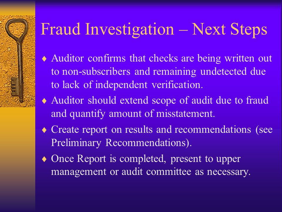 Fraud Investigation – Next Steps