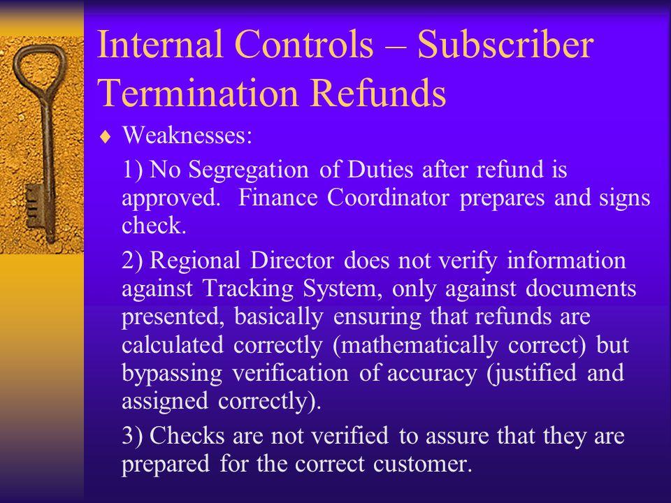 Internal Controls – Subscriber Termination Refunds