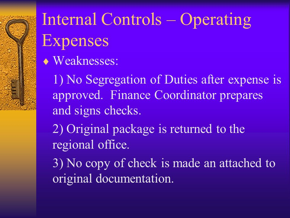 Internal Controls – Operating Expenses