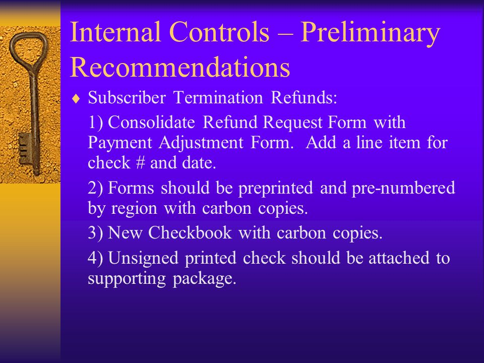 Internal Controls – Preliminary Recommendations