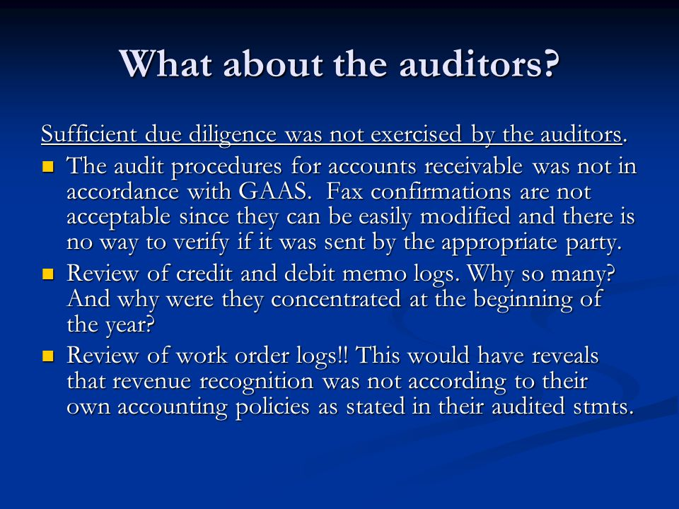 What about the auditors