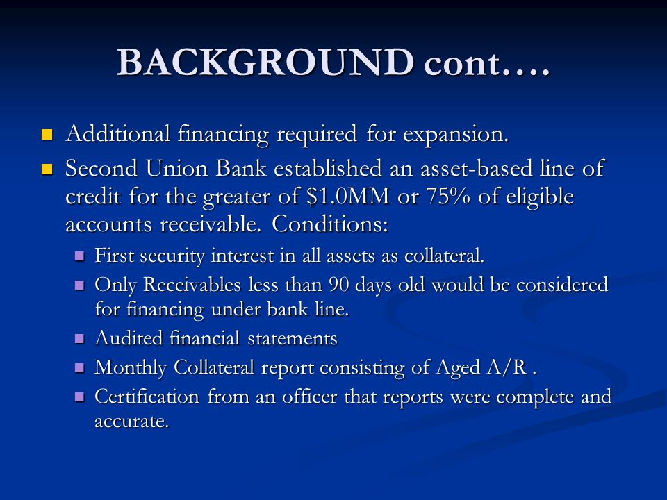 BACKGROUND cont…. Additional financing required for expansion.