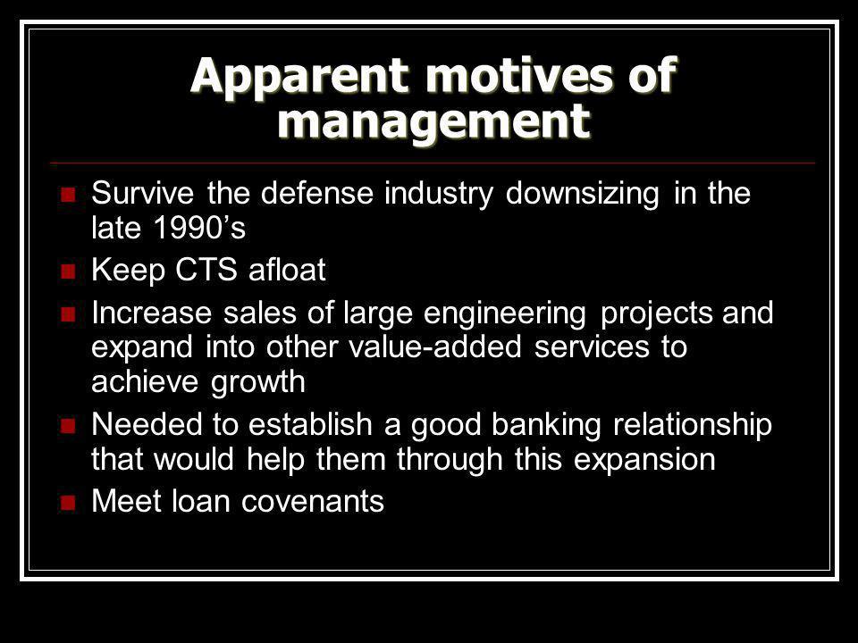 Apparent motives of management