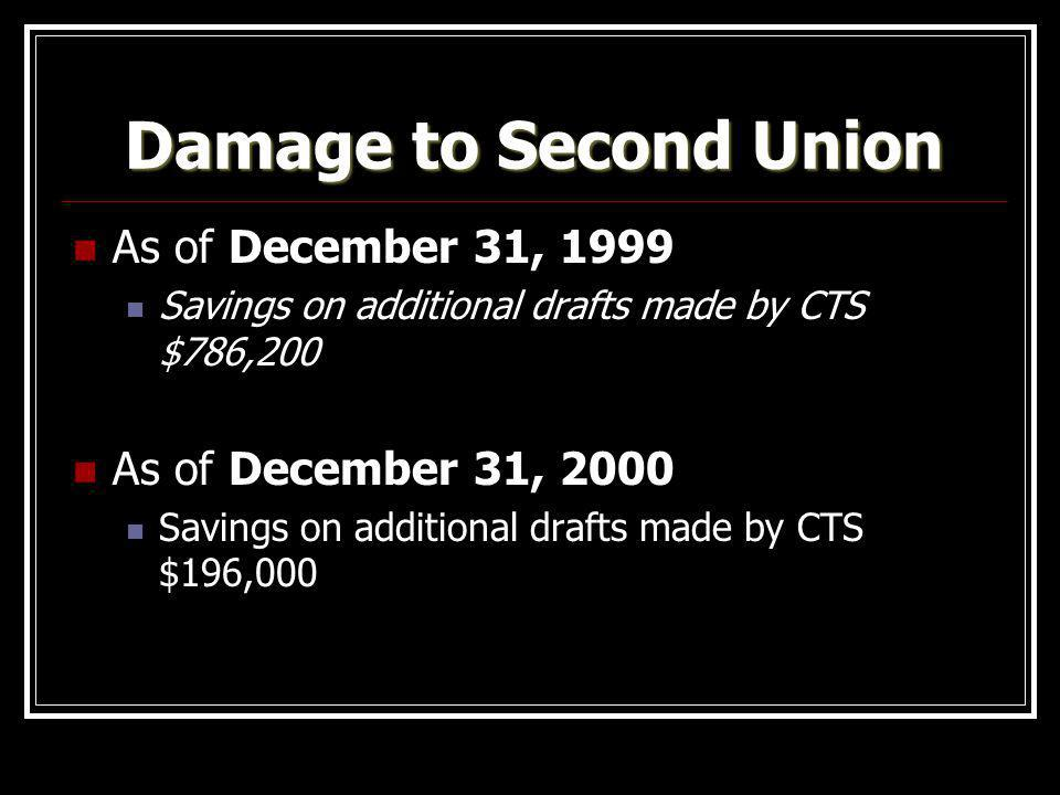 Damage to Second Union As of December 31, 1999 As of December 31, 2000