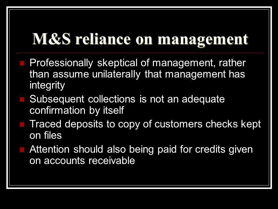 M&S reliance on management