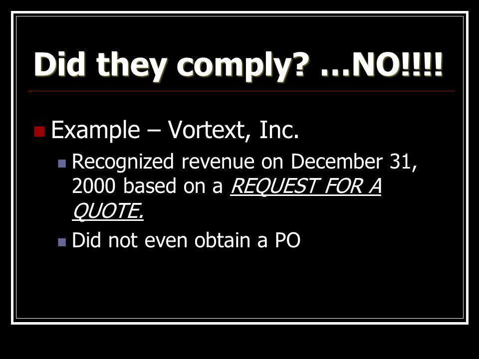 Did they comply …NO!!!! Example – Vortext, Inc.