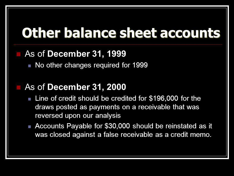 Other balance sheet accounts
