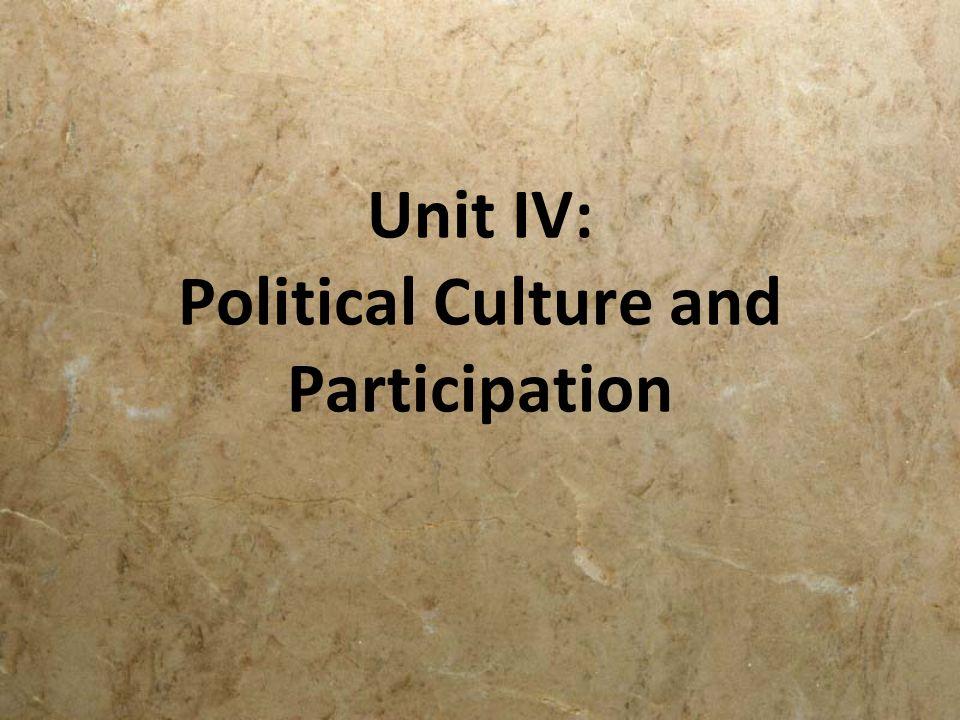 Unit IV: Political Culture and Participation