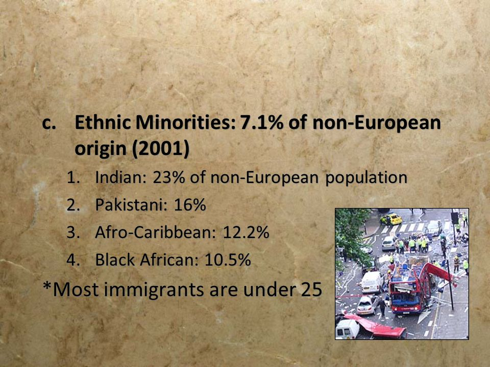 Ethnic Minorities: 7.1% of non-European origin (2001)