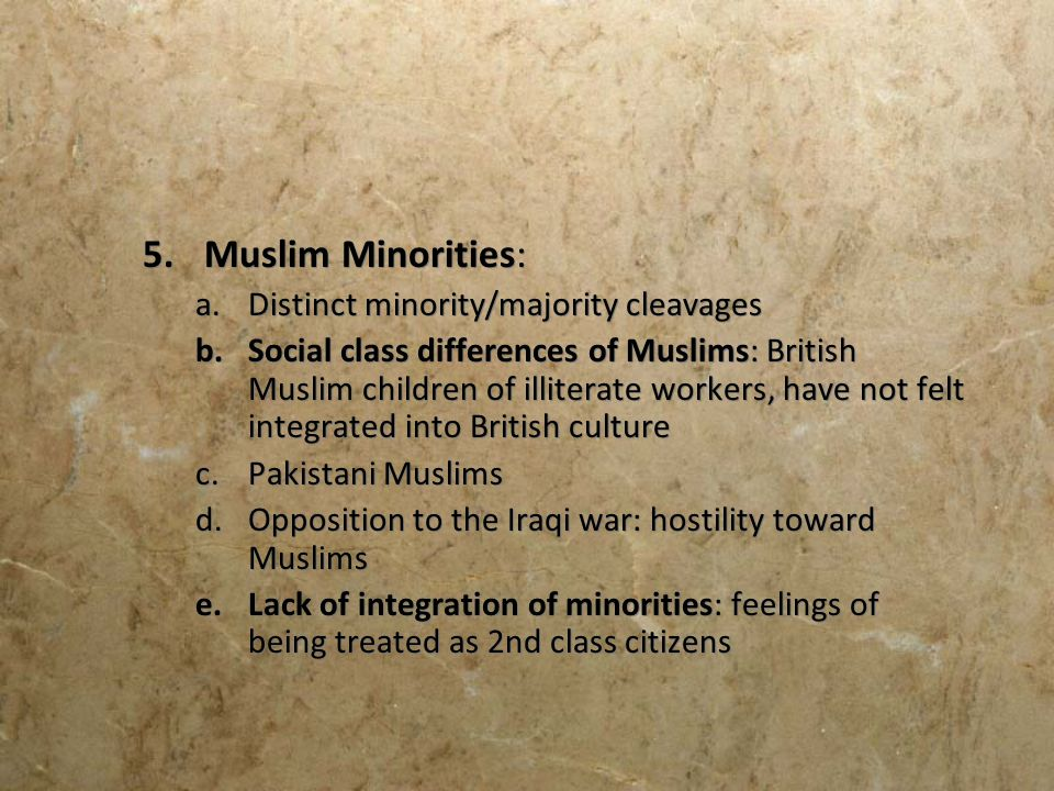 Muslim Minorities: Distinct minority/majority cleavages