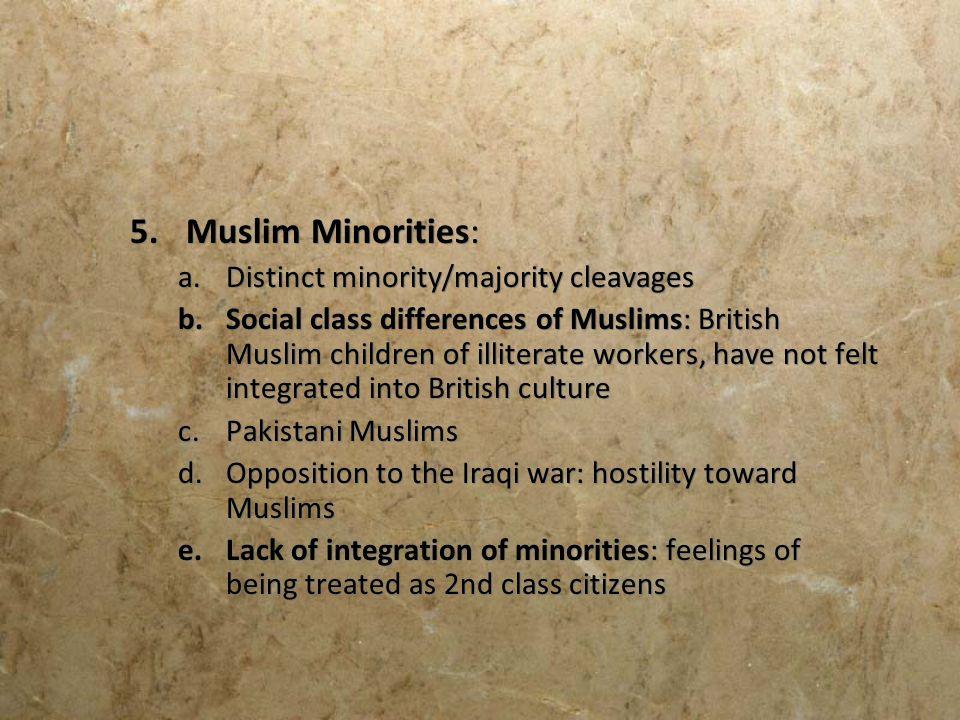 Muslim Minorities: Distinct minority/majority cleavages