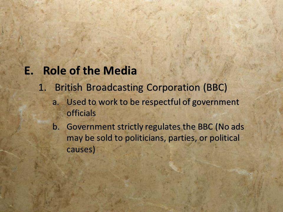 Role of the Media British Broadcasting Corporation (BBC)