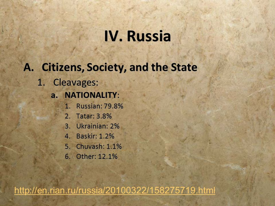 IV. Russia Citizens, Society, and the State Cleavages: NATIONALITY: