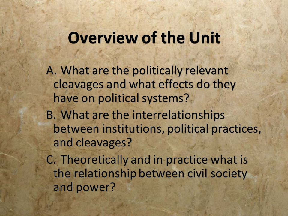 Overview of the Unit A. What are the politically relevant cleavages and what effects do they have on political systems