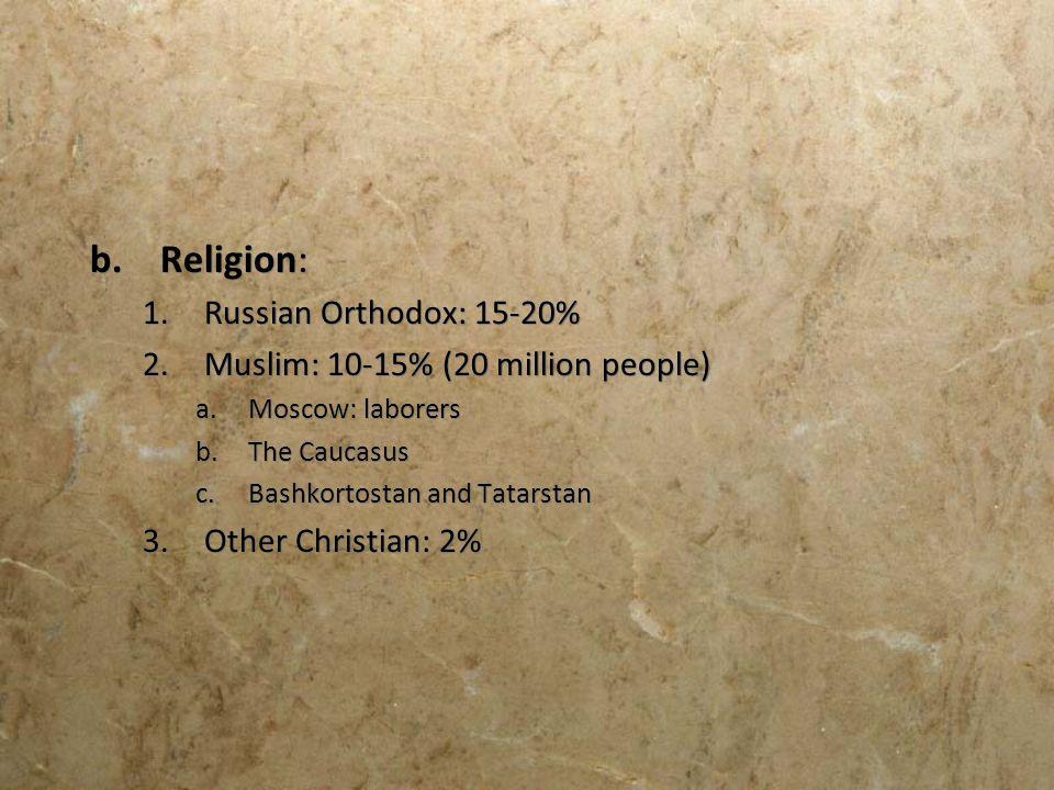 Religion: Russian Orthodox: 15-20% Muslim: 10-15% (20 million people)