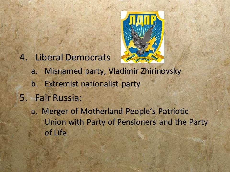 Liberal Democrats Fair Russia: Misnamed party, Vladimir Zhirinovsky