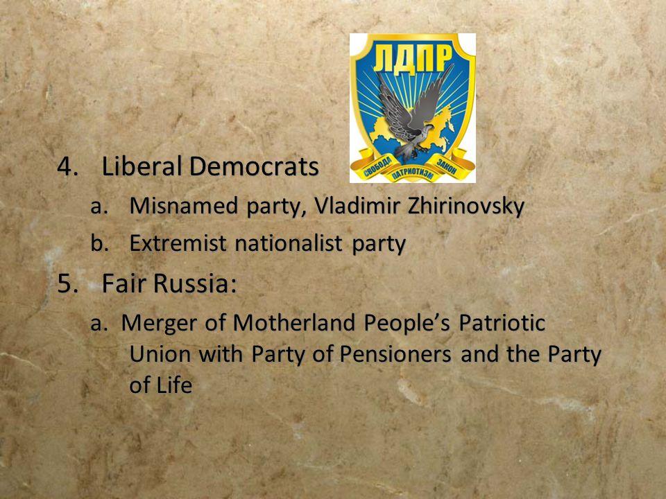 Liberal Democrats Fair Russia: Misnamed party, Vladimir Zhirinovsky