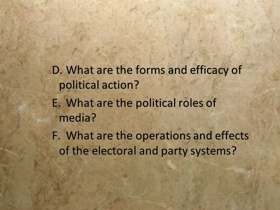 D. What are the forms and efficacy of political action