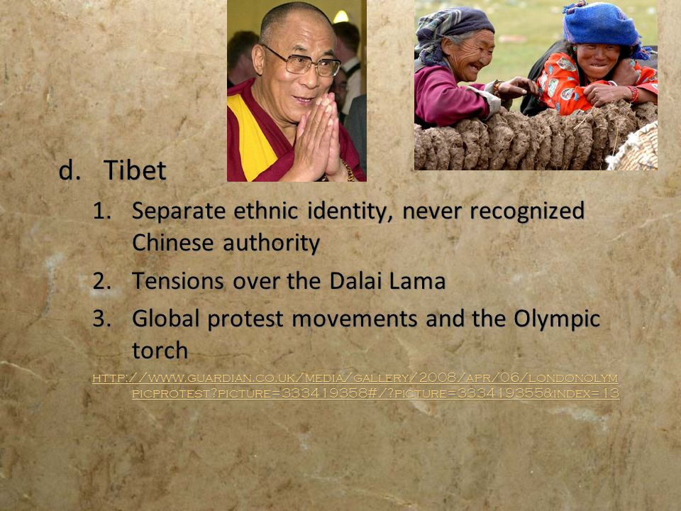 Tibet Separate ethnic identity, never recognized Chinese authority