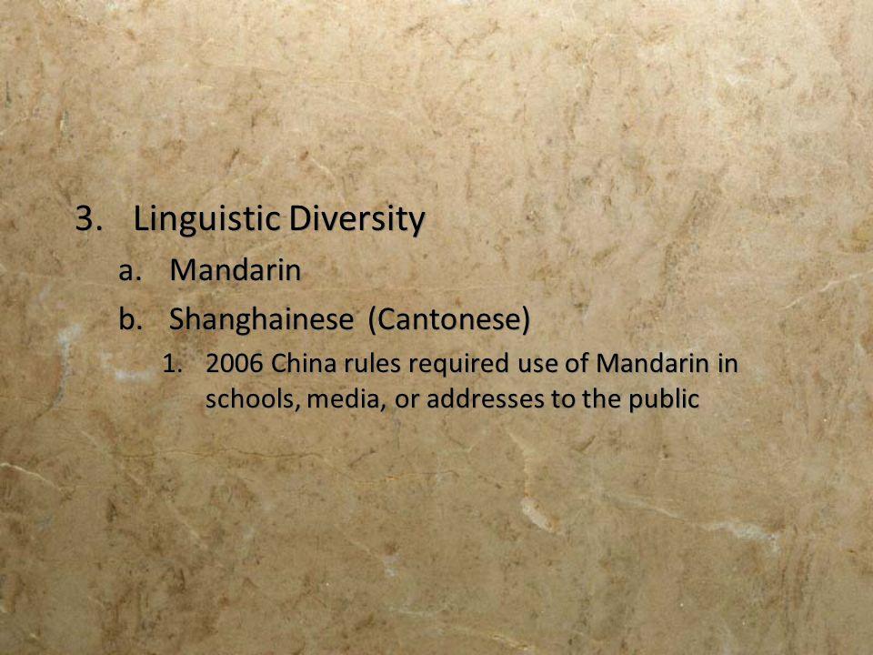 Linguistic Diversity Mandarin Shanghainese (Cantonese)