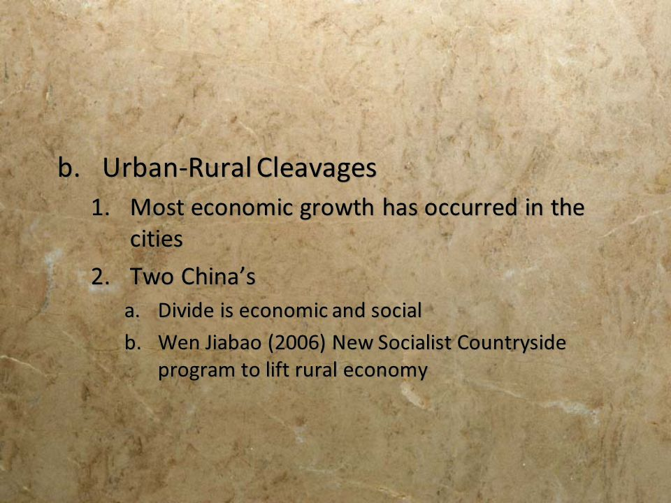 Urban-Rural Cleavages