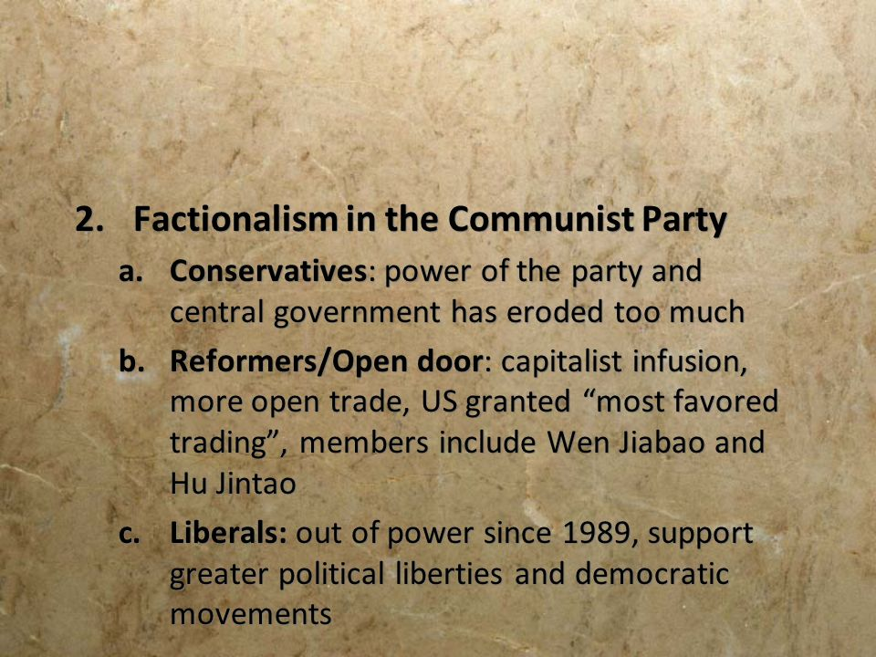 Factionalism in the Communist Party