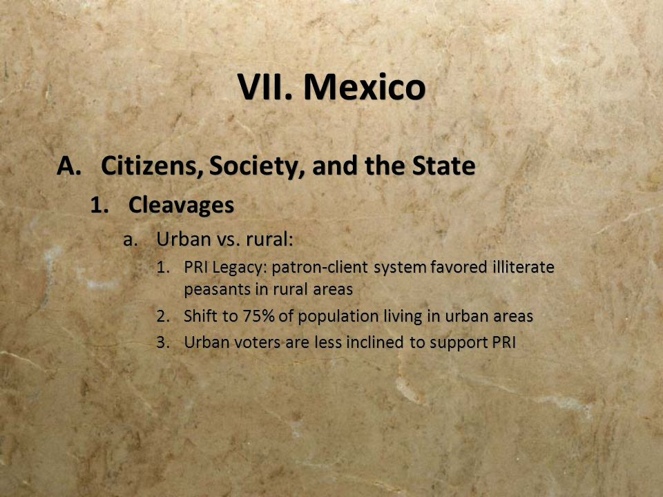 VII. Mexico Citizens, Society, and the State Cleavages