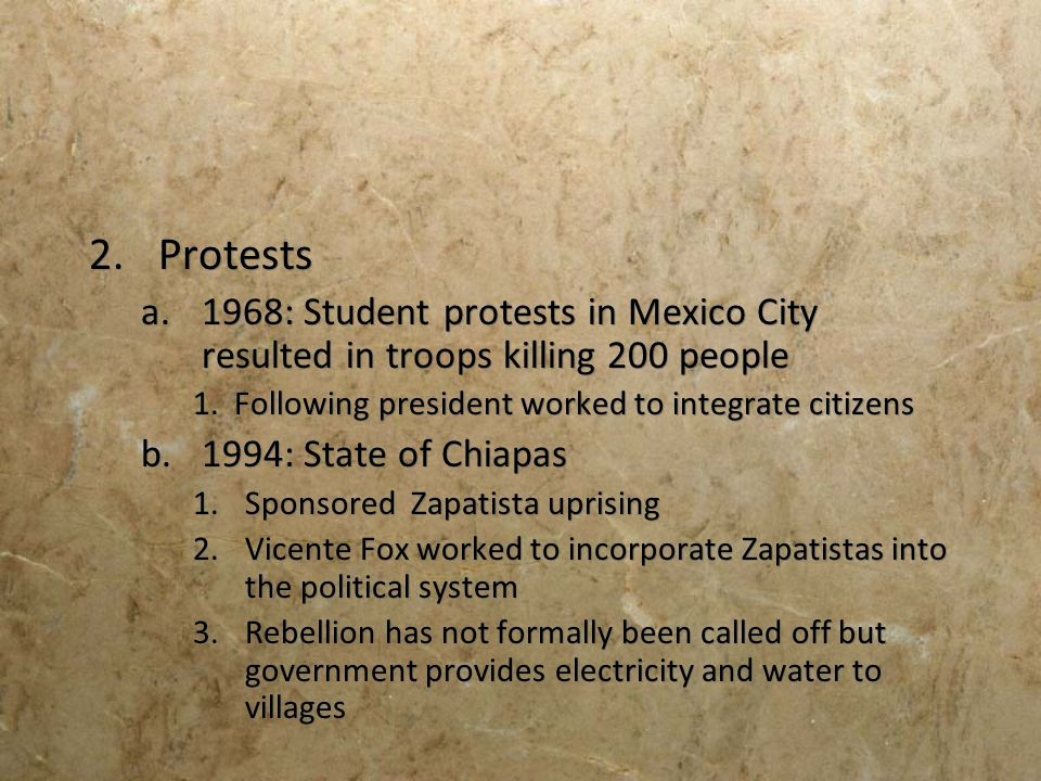 Protests 1968: Student protests in Mexico City resulted in troops killing 200 people. 1. Following president worked to integrate citizens.