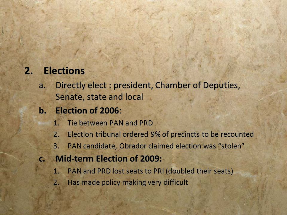 Elections Directly elect : president, Chamber of Deputies, Senate, state and local. Election of 2006: