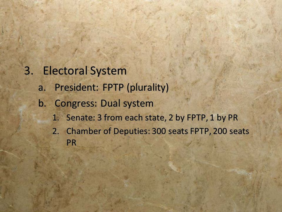 Electoral System President: FPTP (plurality) Congress: Dual system