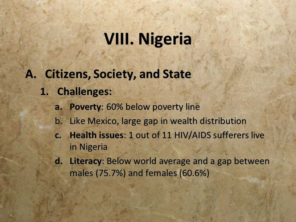 VIII. Nigeria Citizens, Society, and State Challenges: