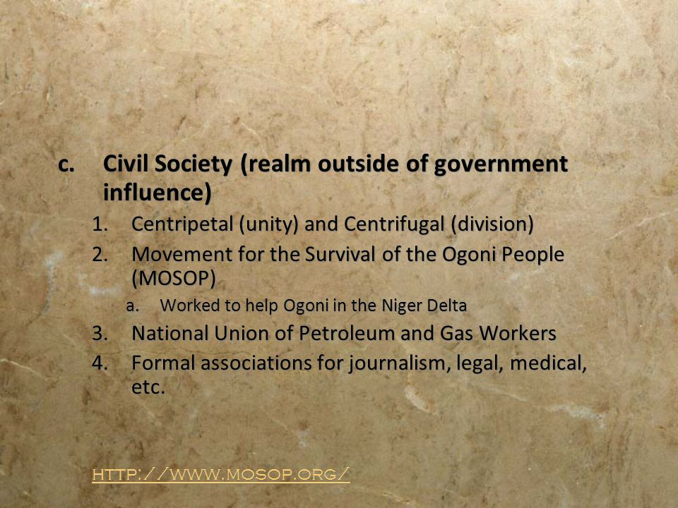Civil Society (realm outside of government influence)