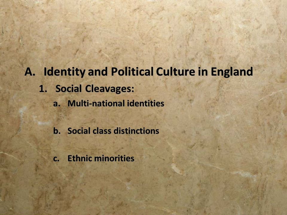 Identity and Political Culture in England