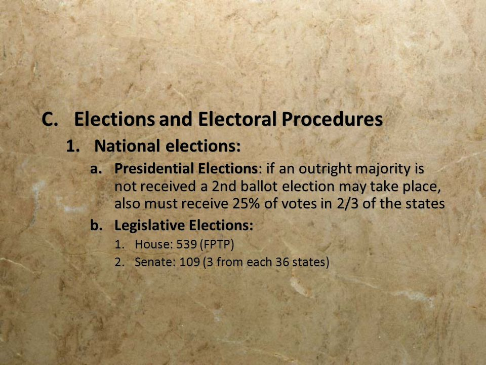 Elections and Electoral Procedures