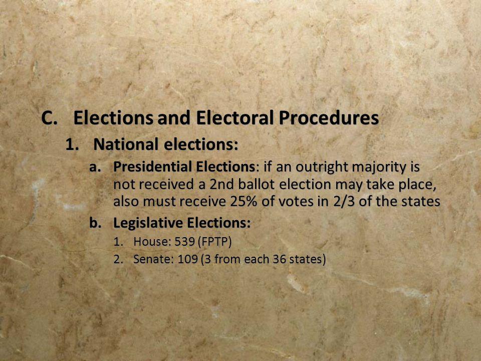 Elections and Electoral Procedures