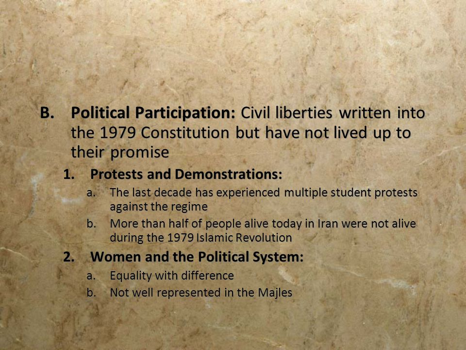 Political Participation: Civil liberties written into the 1979 Constitution but have not lived up to their promise