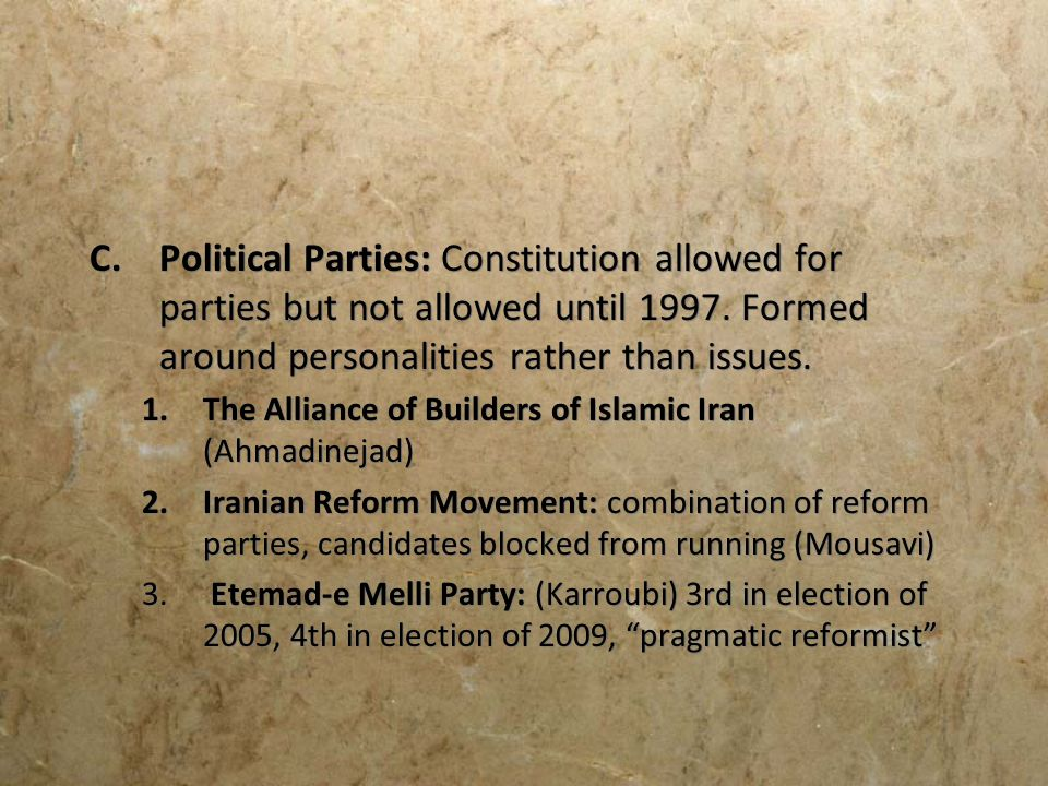 Political Parties: Constitution allowed for parties but not allowed until 1997. Formed around personalities rather than issues.