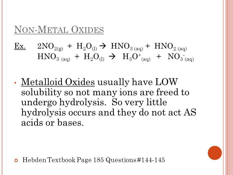 Non-Metal Oxides Ex. 2NO2(g) + H2O(l)  HNO3 (aq) + HNO2 (aq) HNO3 (aq) + H2O(l)  H3O+(aq) + NO3-(aq)