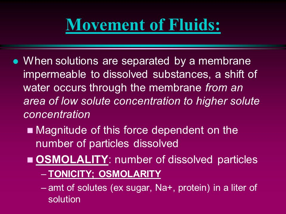 Movement of Fluids: