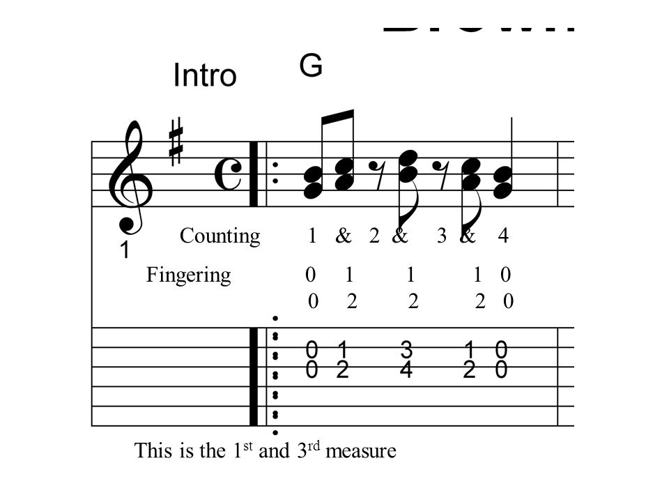 Counting 1 & 2 & 3 & 4 Fingering 0 1 1 1 0. 0 2 2 2 0.