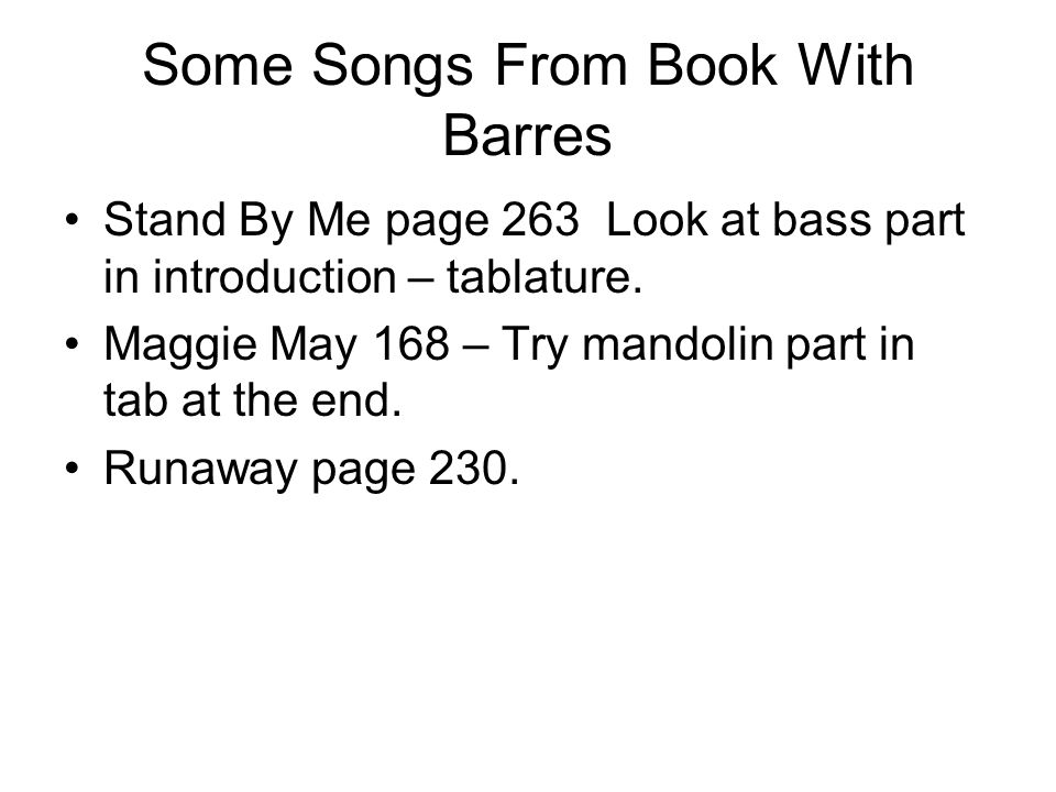 Some Songs From Book With Barres