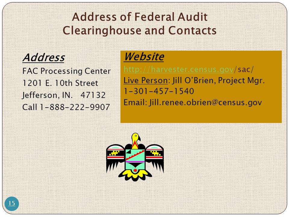 Address of Federal Audit Clearinghouse and Contacts