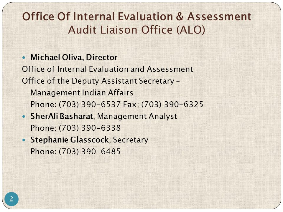 Office Of Internal Evaluation & Assessment Audit Liaison Office (ALO)