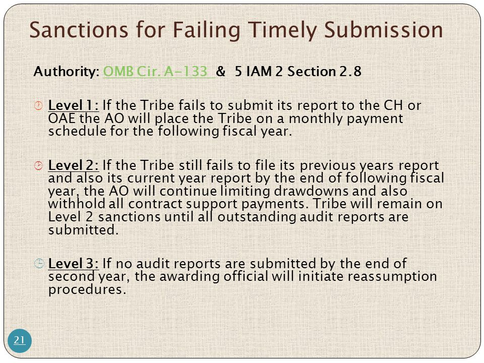 Sanctions for Failing Timely Submission